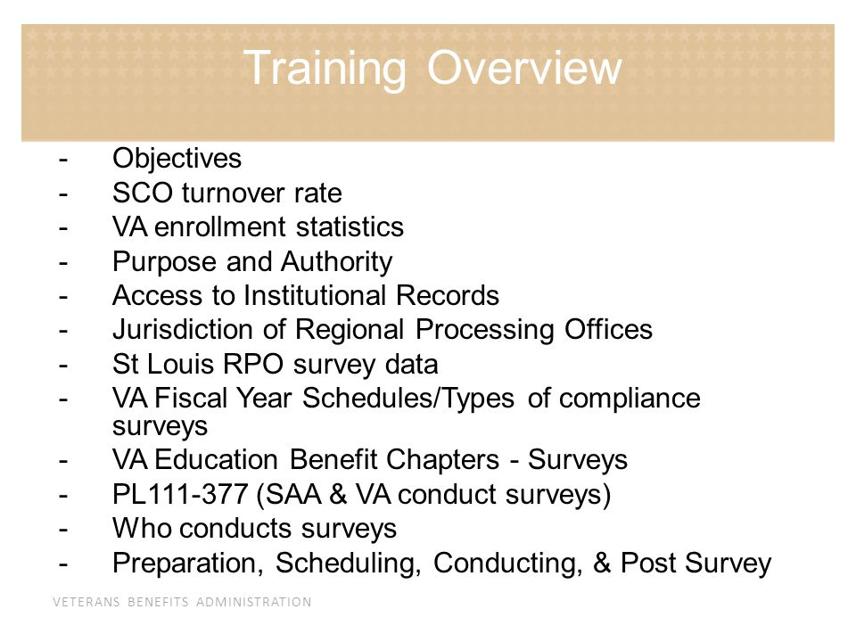 Training Overview Objectives SCO turnover rate