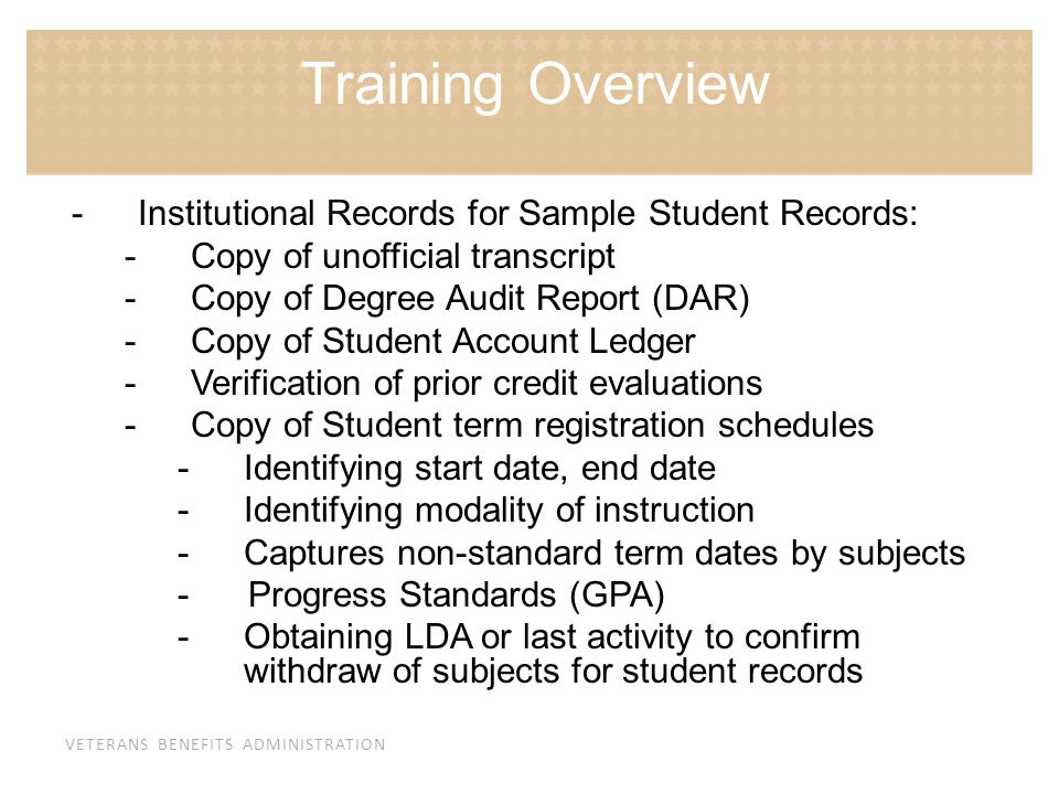 Training Overview Institutional Records for Sample Student Records: