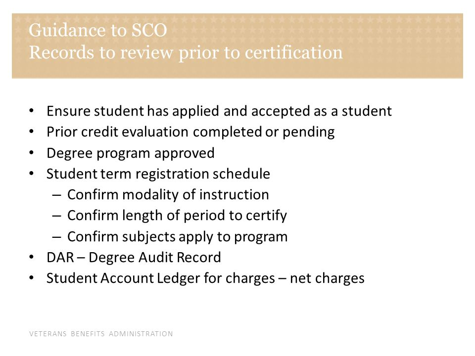 Guidance to SCO Records to review prior to certification