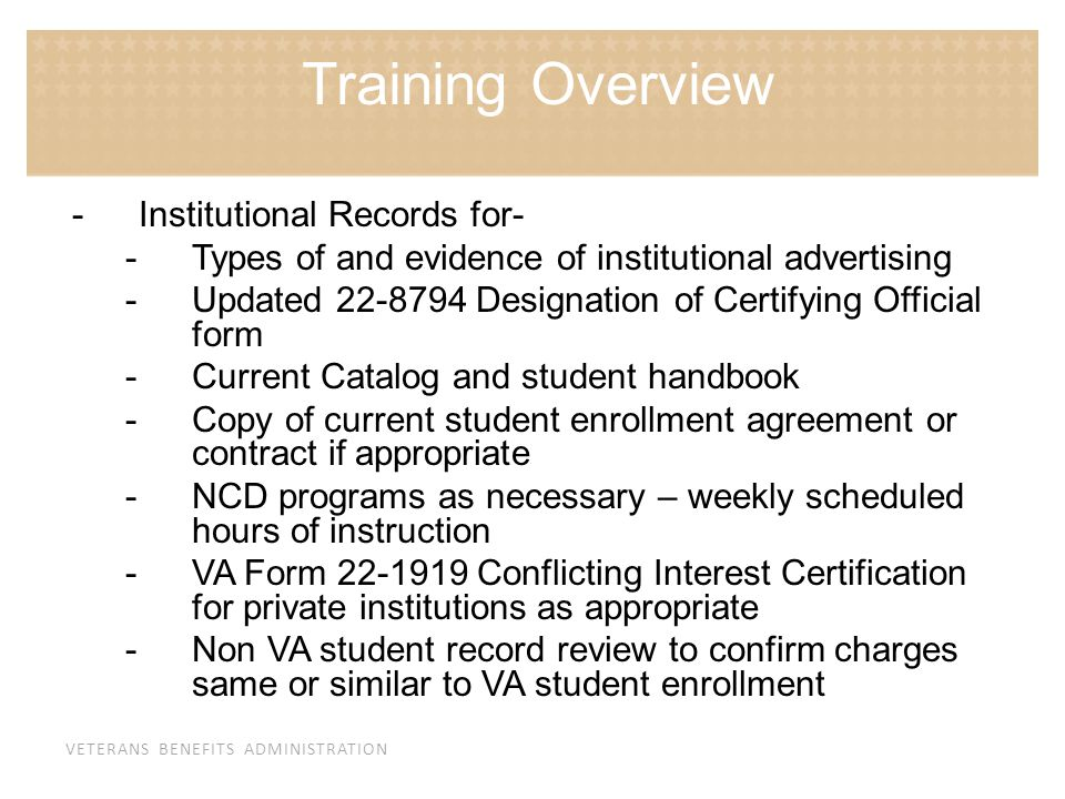 Training Overview Institutional Records for-