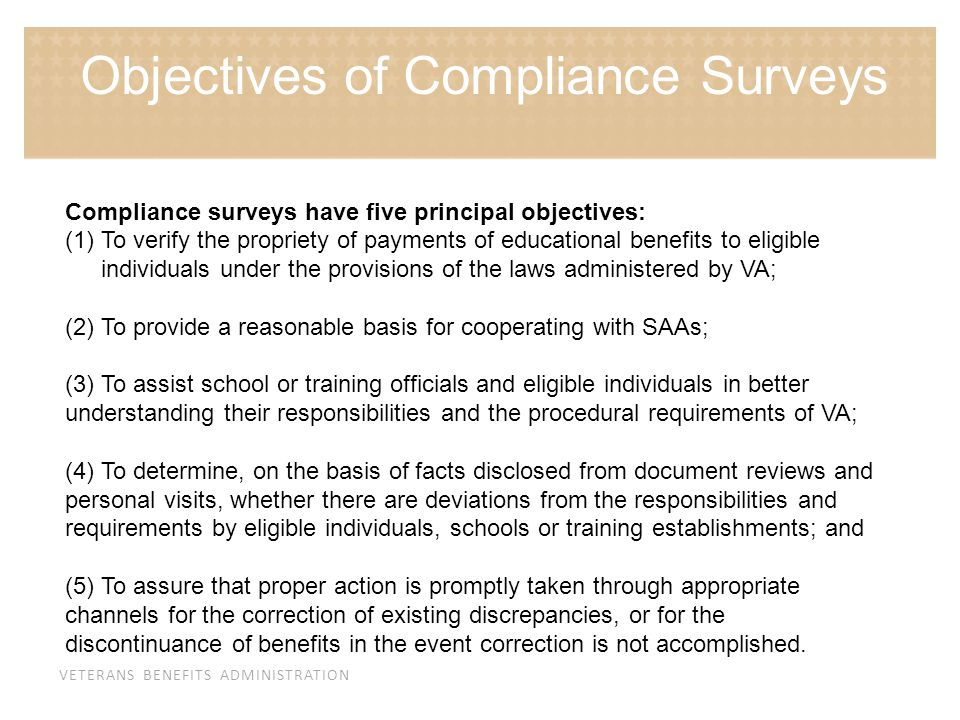 Objectives of Compliance Surveys