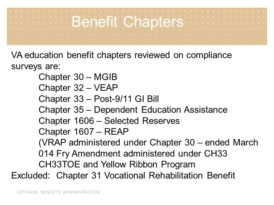 Benefit Chapters VA education benefit chapters reviewed on compliance surveys are: Chapter 30 – MGIB.