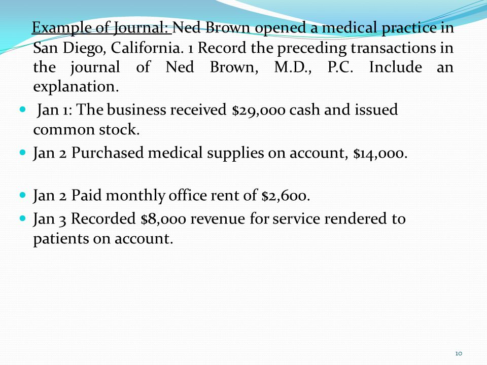 Example of Journal: Ned Brown opened a medical practice in San Diego, California. 1 Record the preceding transactions in the journal of Ned Brown, M.D., P.C. Include an explanation.