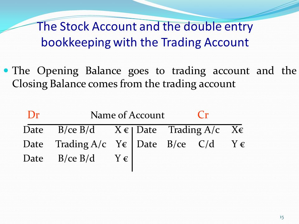 The Stock Account and the double entry bookkeeping with the Trading Account
