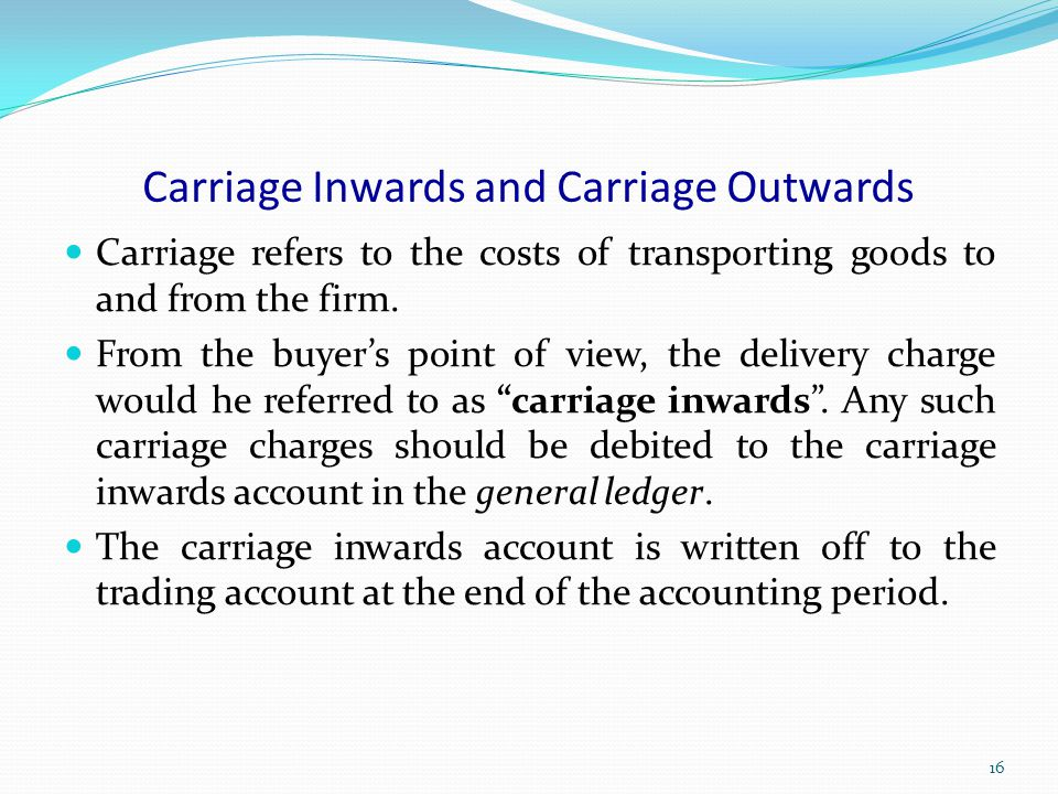 Carriage Inwards and Carriage Outwards