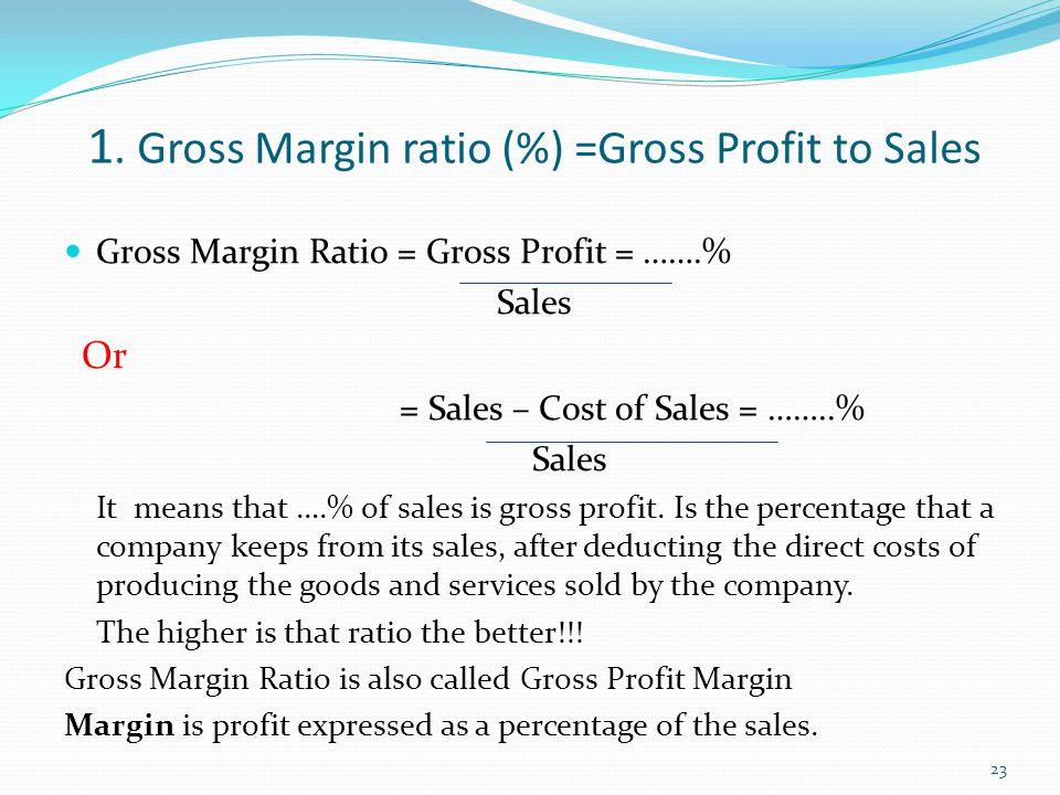 1. Gross Margin ratio (%) =Gross Profit to Sales