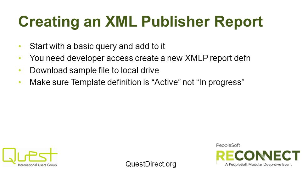 Creating an XML Publisher Report