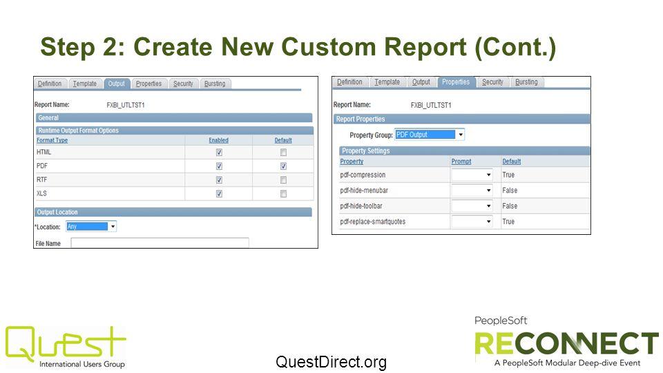 Step 2: Create New Custom Report (Cont.)