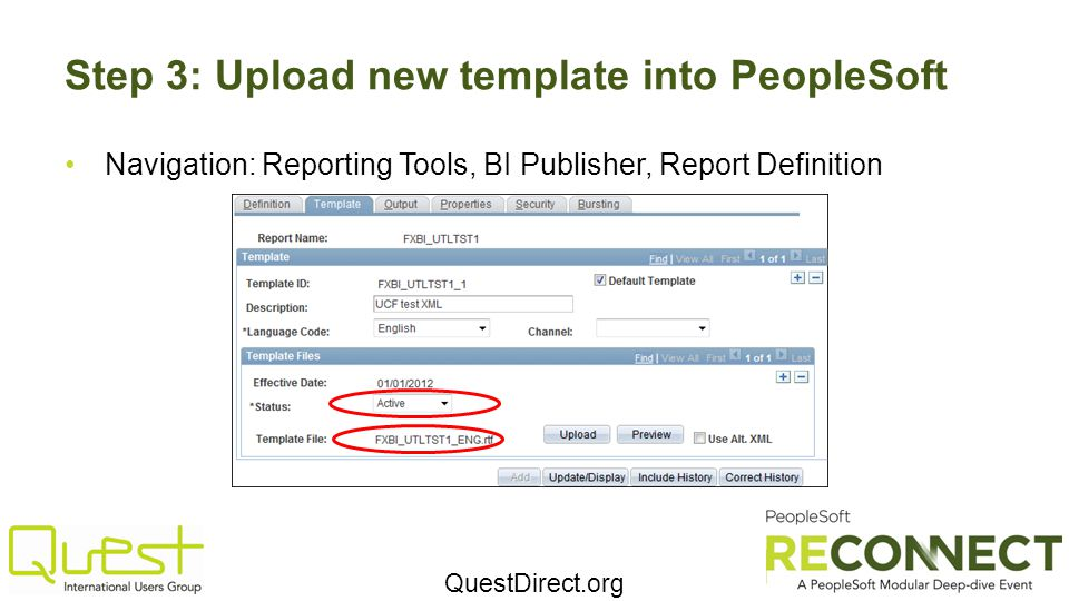 Step 3: Upload new template into PeopleSoft