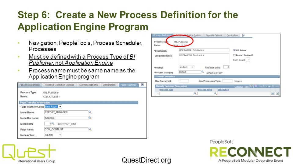Step 6: Create a New Process Definition for the Application Engine Program