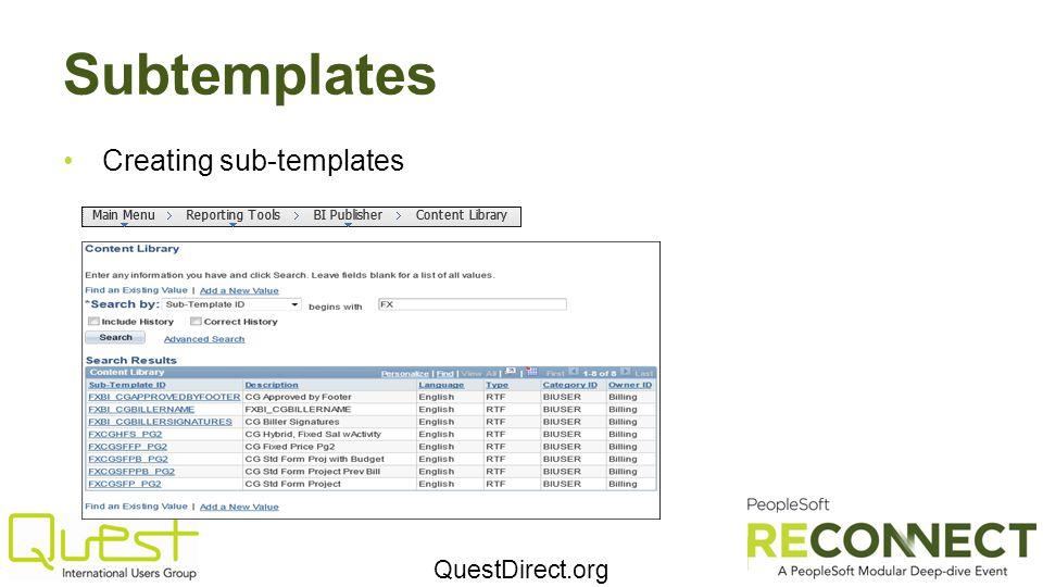 Subtemplates Creating sub-templates
