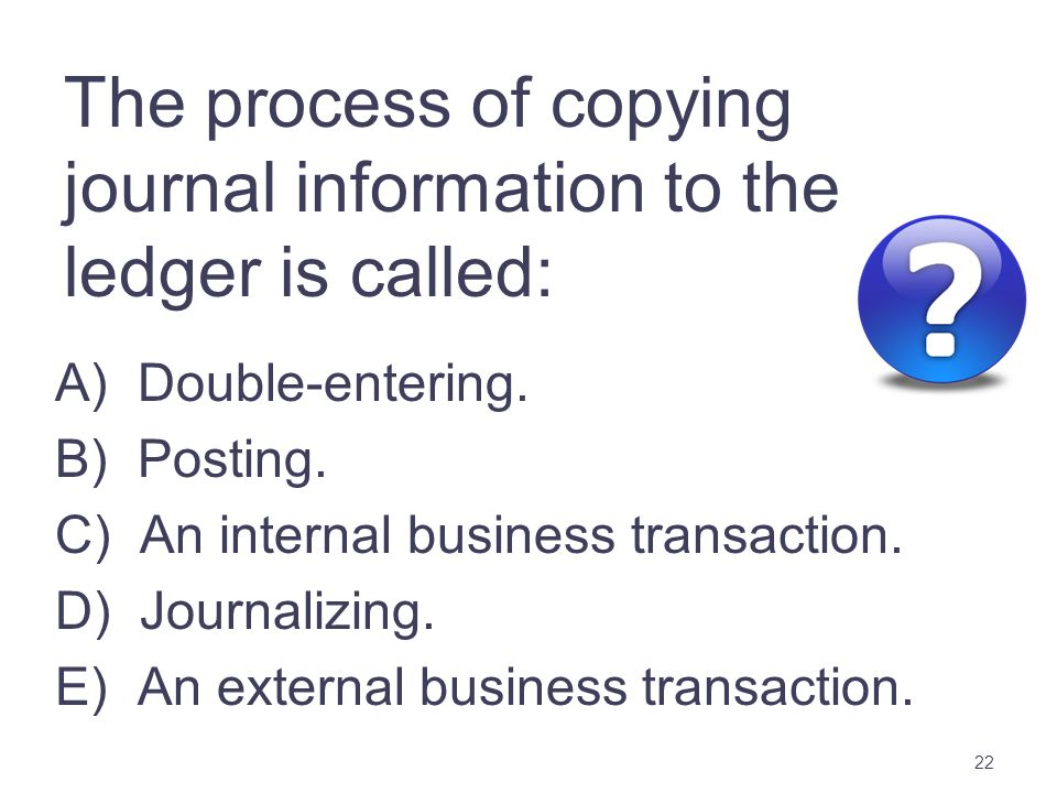 The process of copying journal information to the ledger is called: