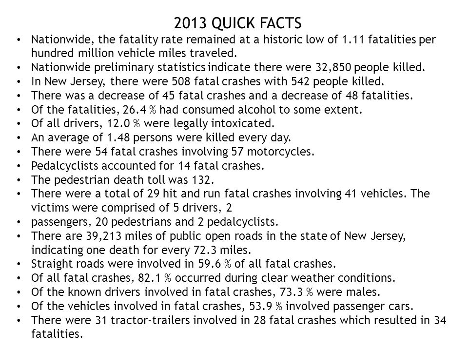 2013 QUICK FACTS Nationwide, the fatality rate remained at a historic low of 1.11 fatalities per hundred million vehicle miles traveled.