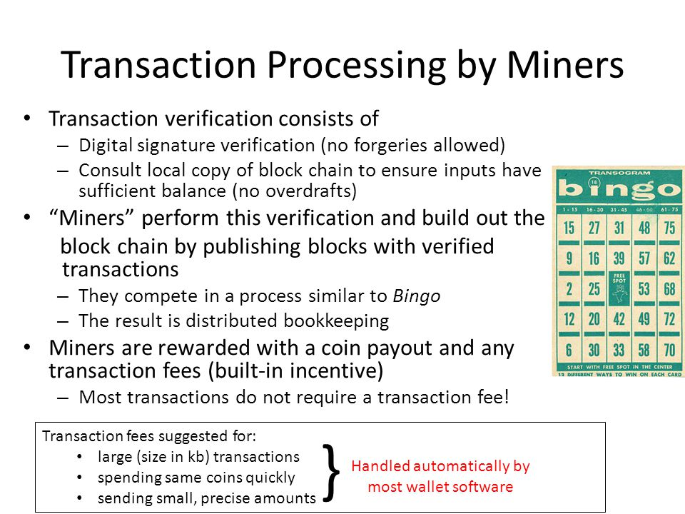 Transaction Processing by Miners