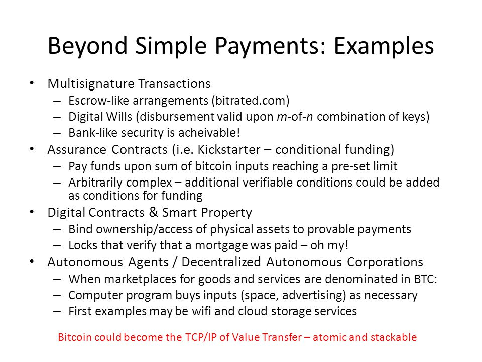 Beyond Simple Payments: Examples