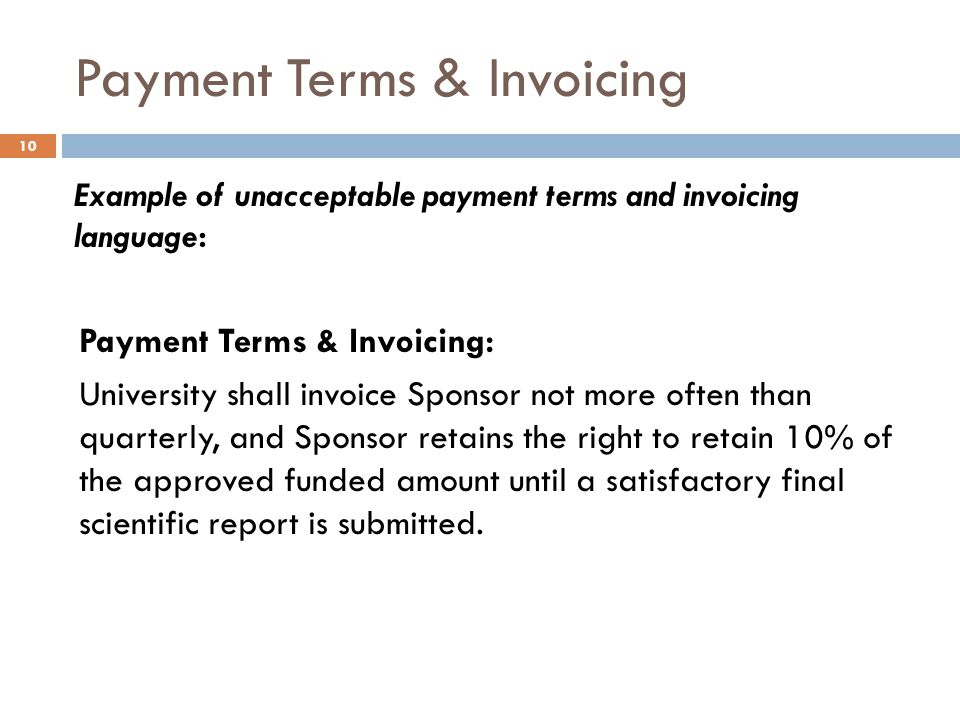 Payment Terms & Invoicing
