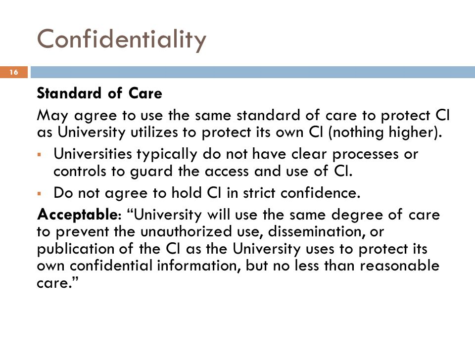 Confidentiality Standard of Care