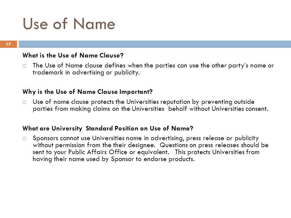 Use of Name What is the Use of Name Clause