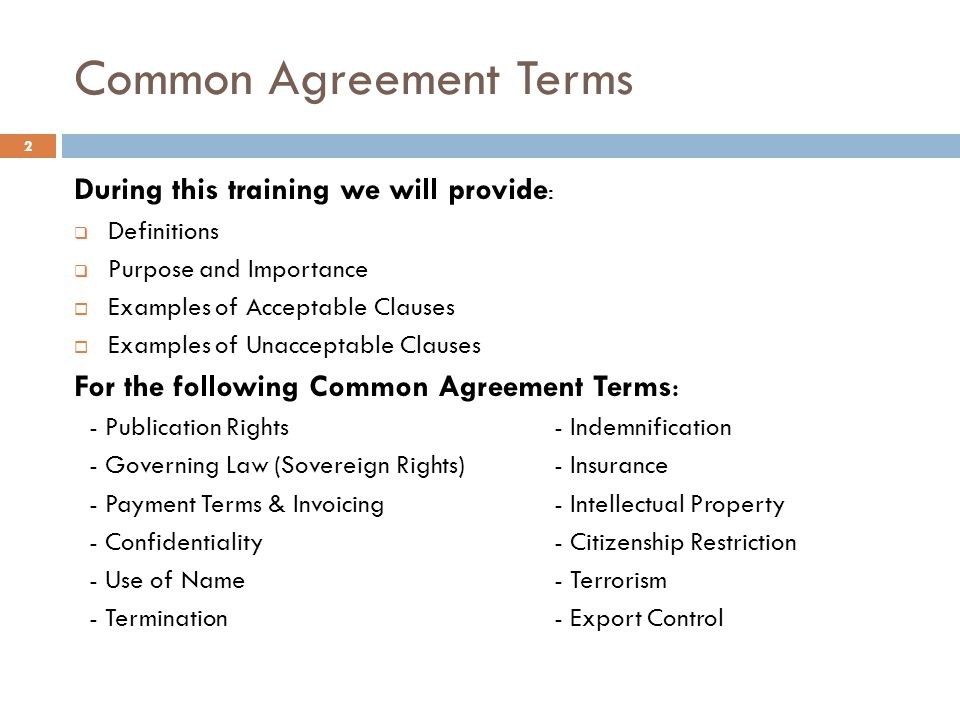 Common Agreement Terms
