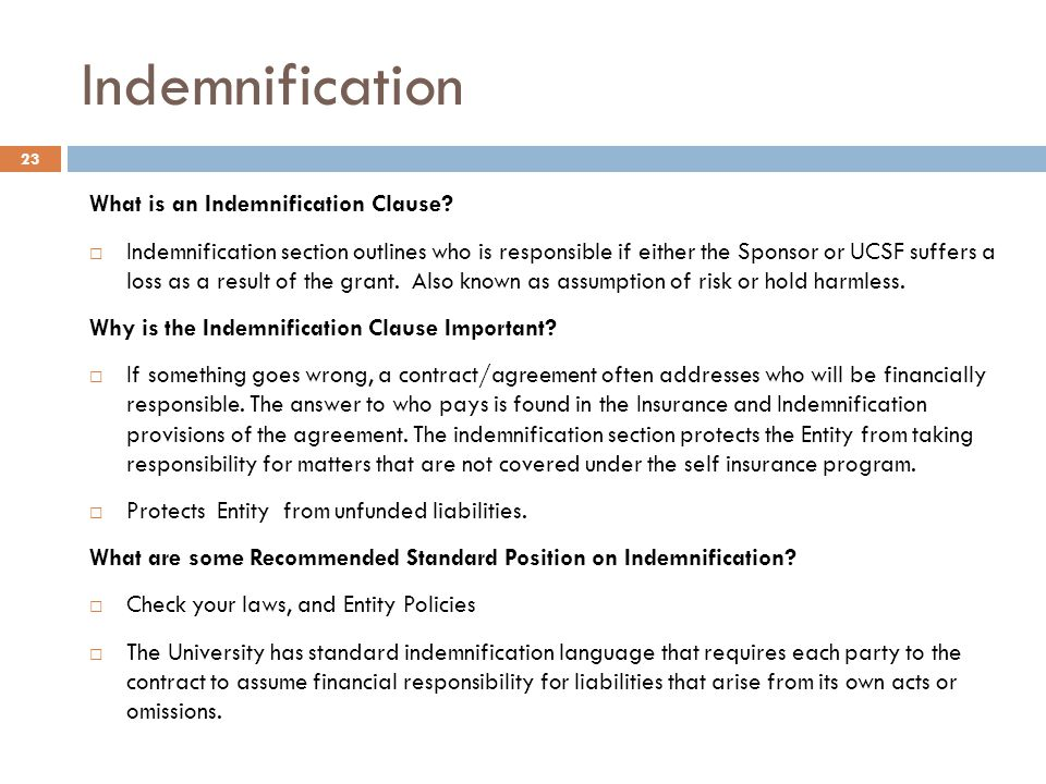 Indemnification What is an Indemnification Clause