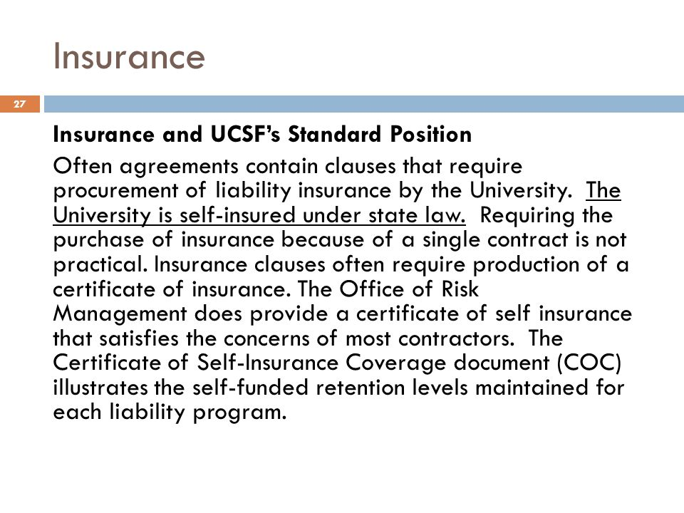 Insurance Insurance and UCSF's Standard Position