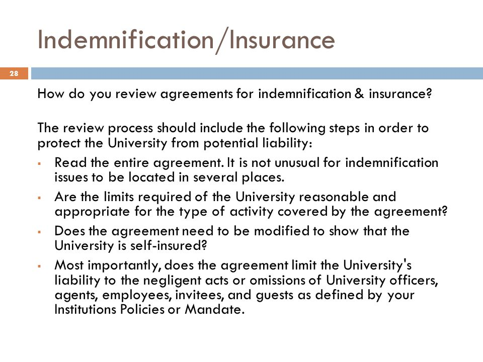 Indemnification/Insurance