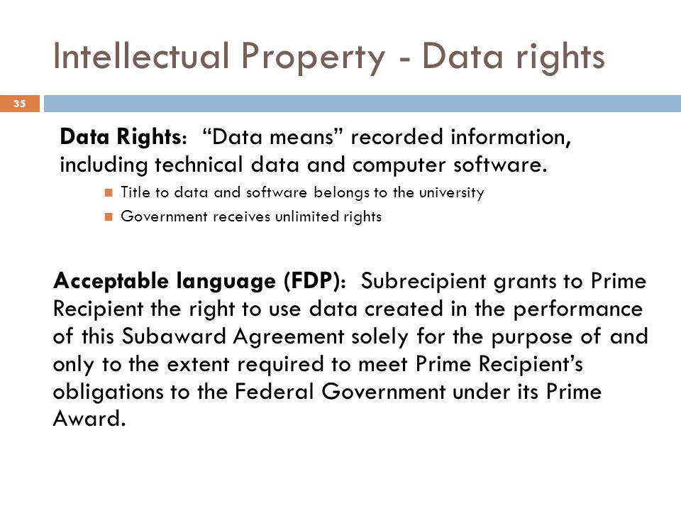 Intellectual Property - Data rights