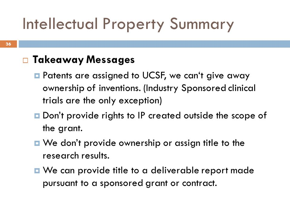 Intellectual Property Summary