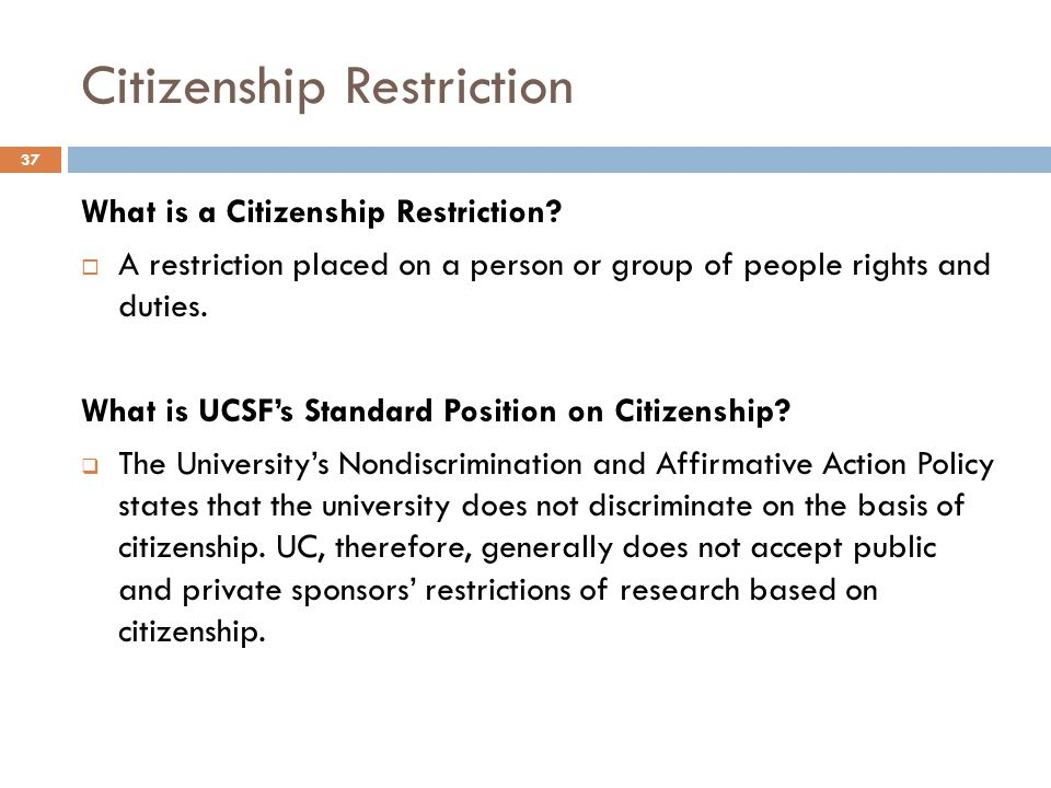 Citizenship Restriction