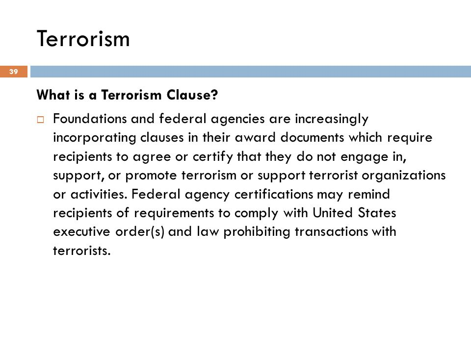 Terrorism What is a Terrorism Clause