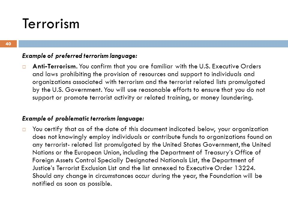 Terrorism Example of preferred terrorism language: