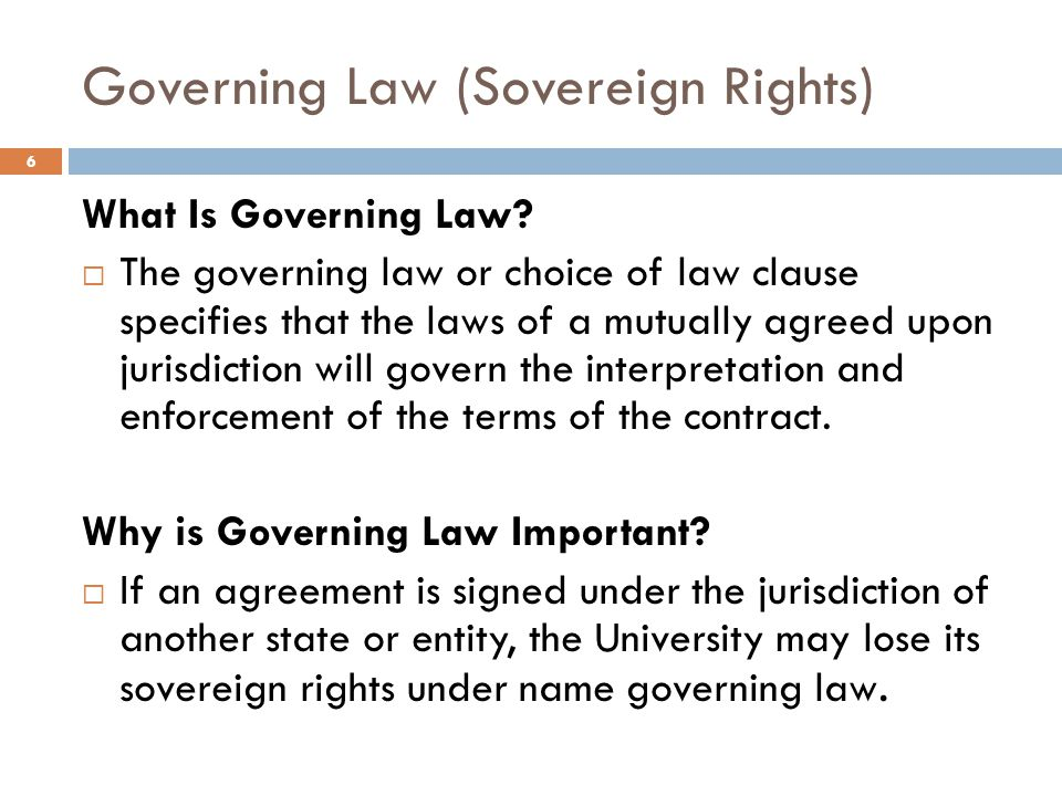 Governing Law (Sovereign Rights)