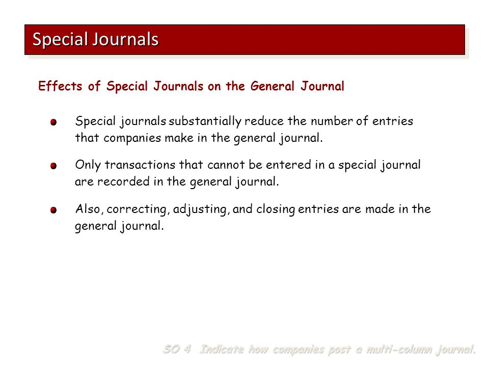 Special Journals Effects of Special Journals on the General Journal