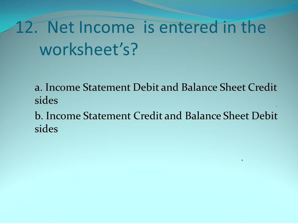 12. Net Income is entered in the worksheet's