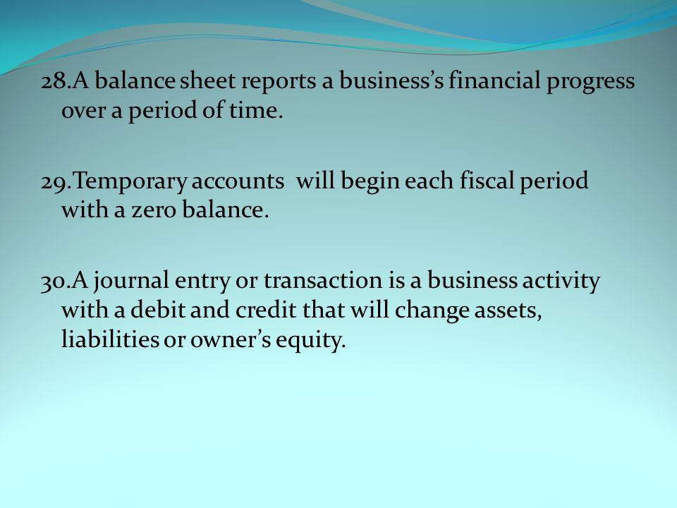 28.A balance sheet reports a business's financial progress over a period of time.