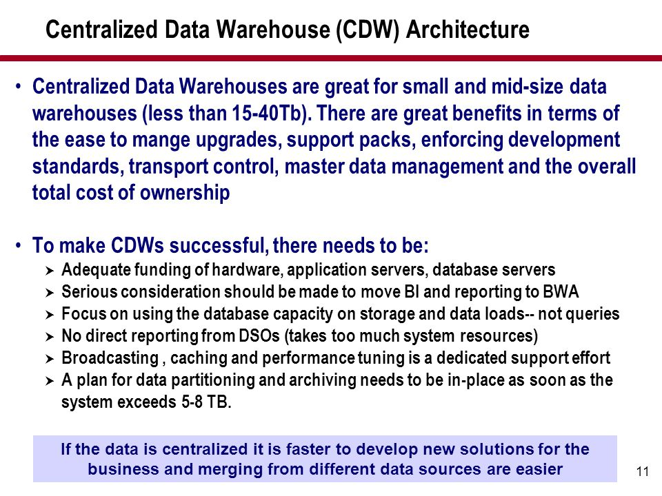 Centralized Data Warehouse (CDW) Architecture