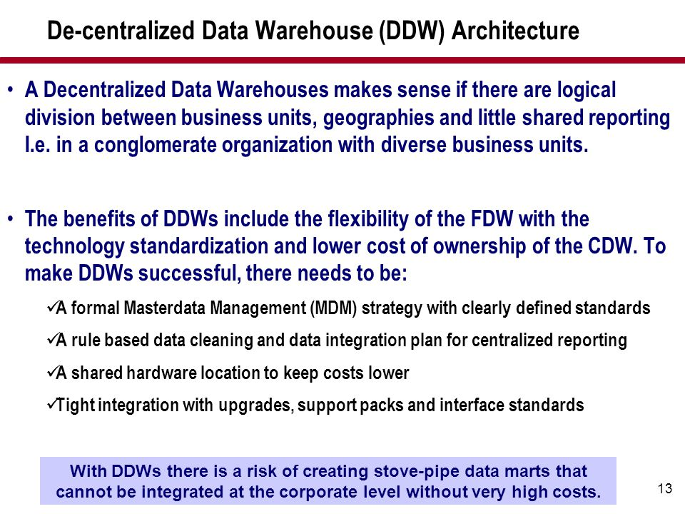 De-centralized Data Warehouse (DDW) Architecture