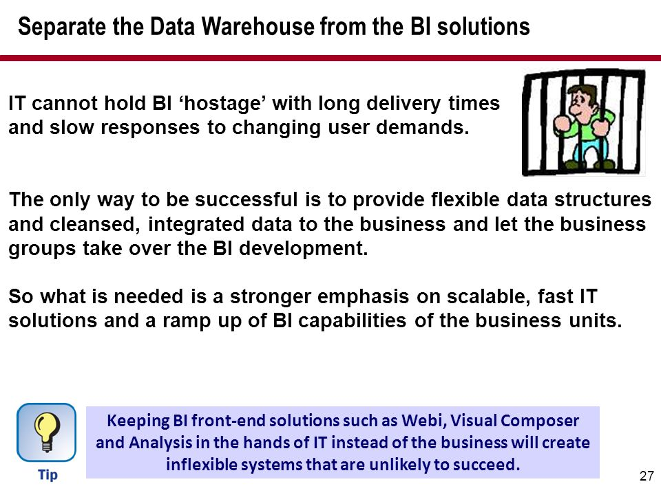Separate the Data Warehouse from the BI solutions