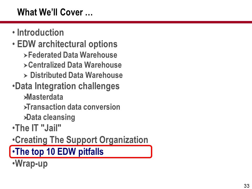 EDW architectural options