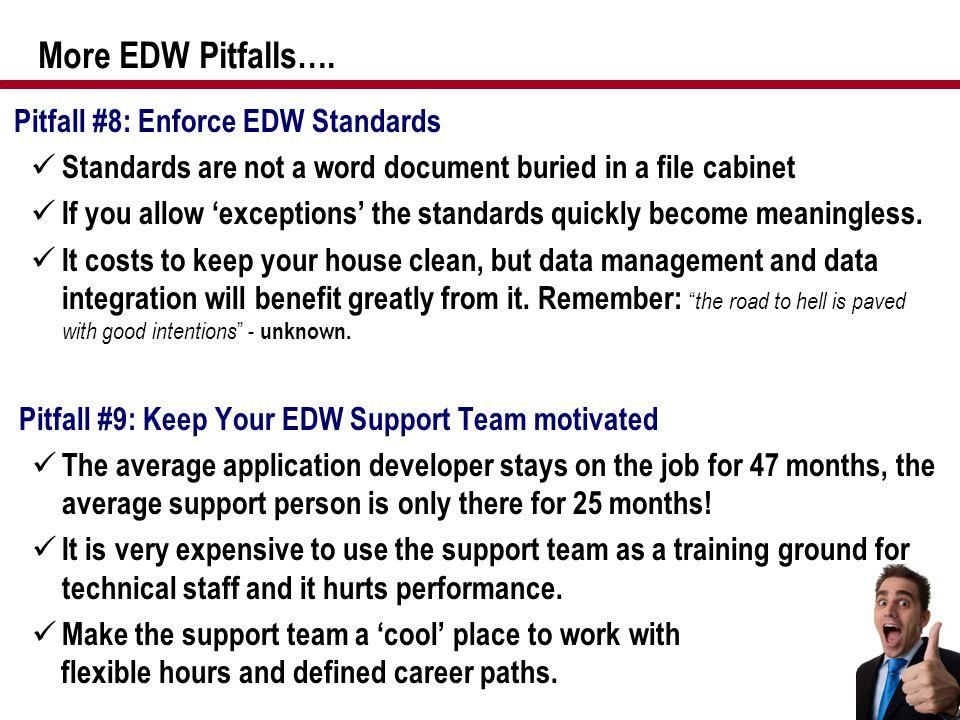 More EDW Pitfalls…. Pitfall #8: Enforce EDW Standards