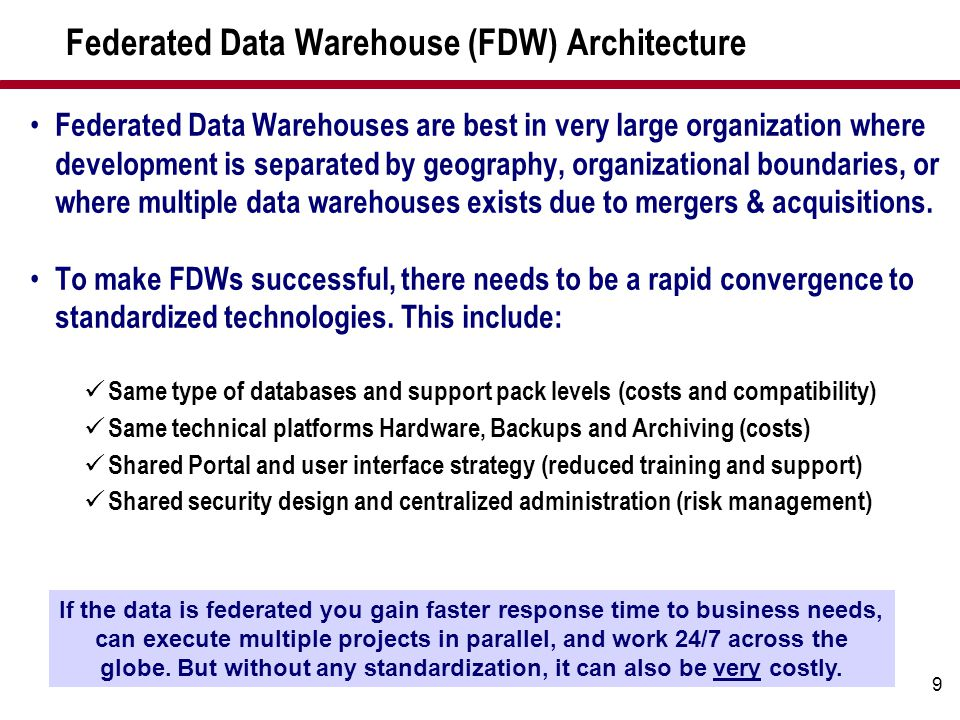 Federated Data Warehouse (FDW) Architecture