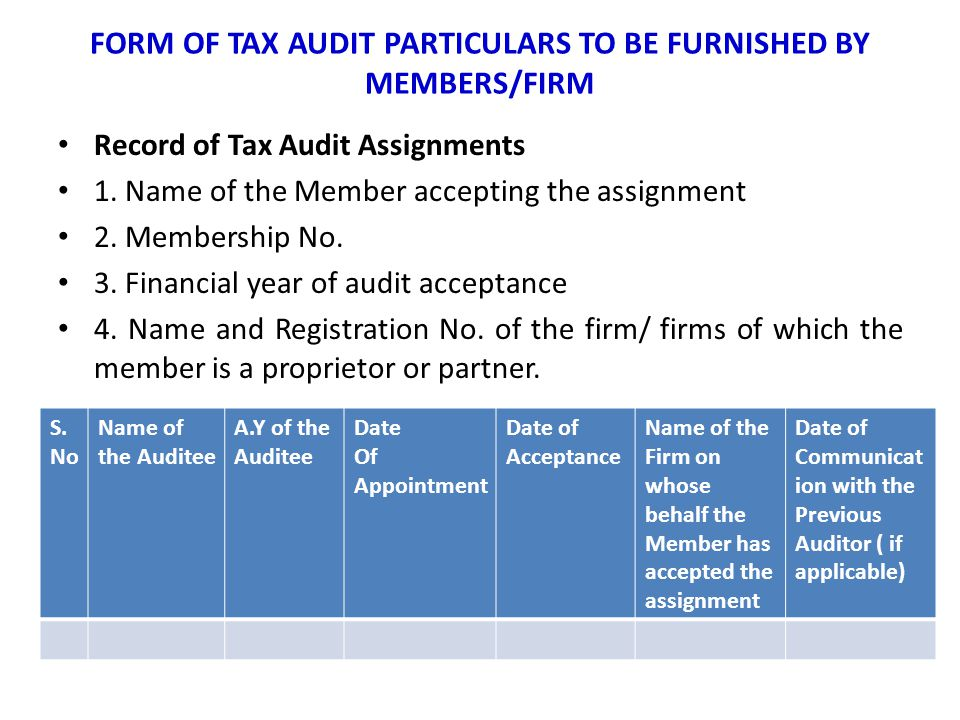 FORM OF TAX AUDIT PARTICULARS TO BE FURNISHED BY MEMBERS/FIRM