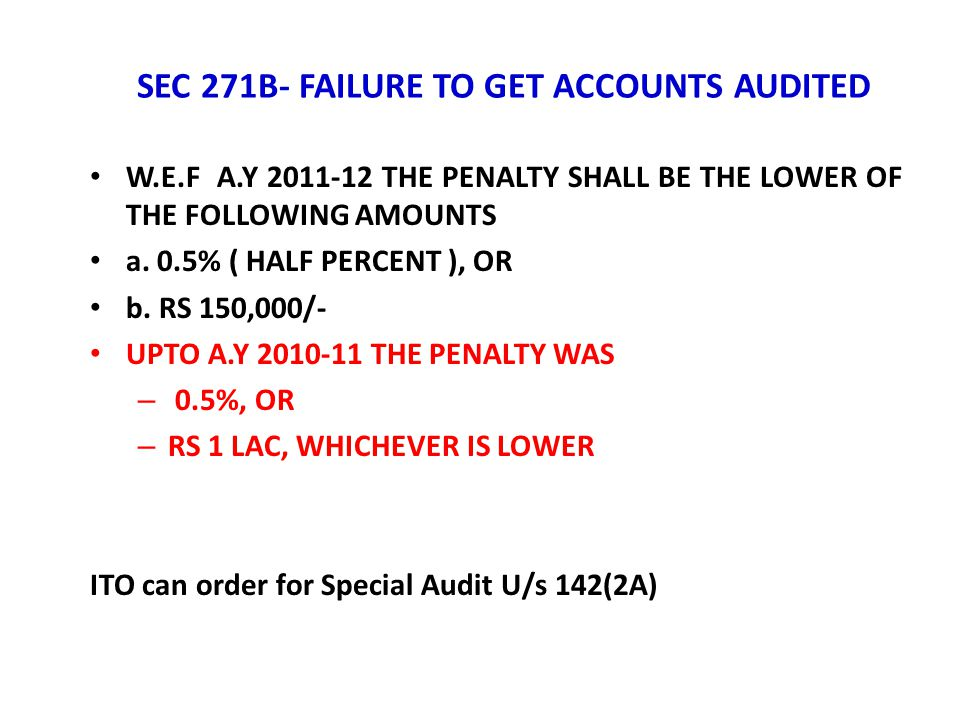 SEC 271B- FAILURE TO GET ACCOUNTS AUDITED