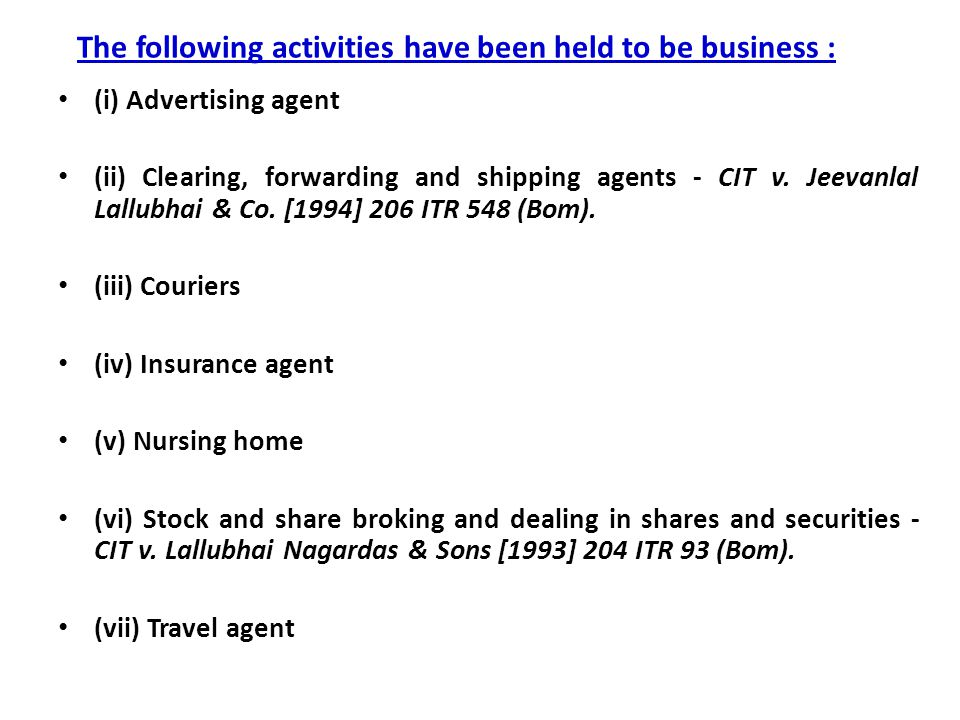 The following activities have been held to be business :