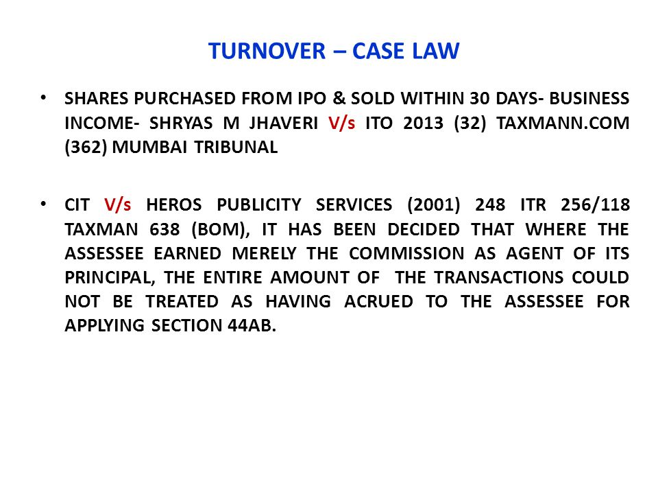 TURNOVER – CASE LAW