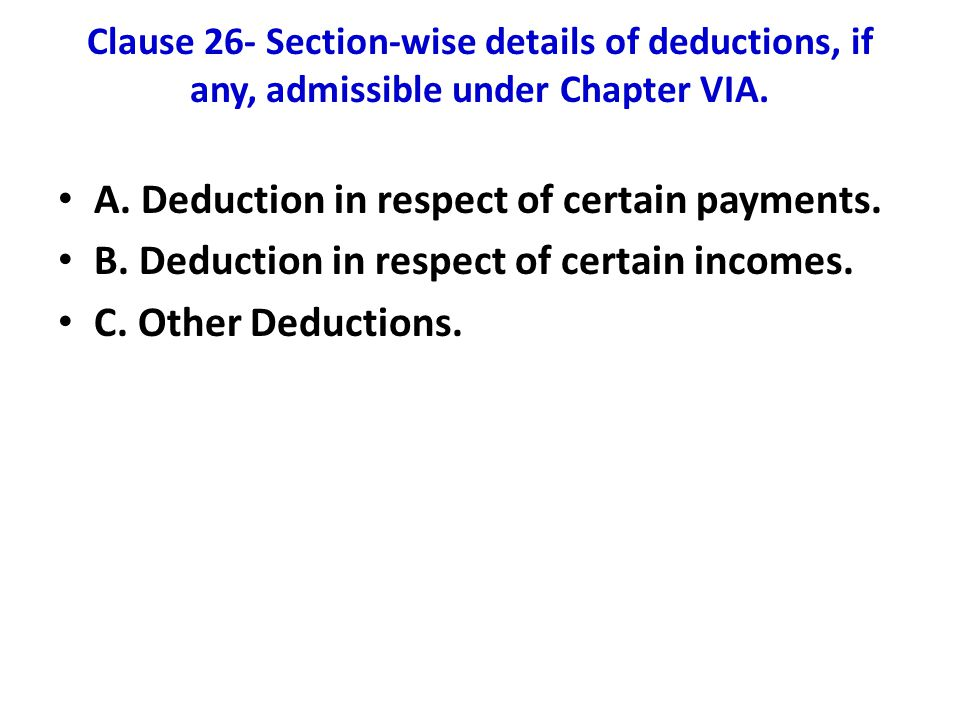 A. Deduction in respect of certain payments.