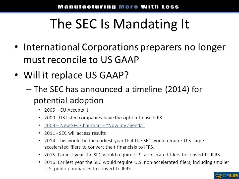 The SEC Is Mandating It International Corporations preparers no longer must reconcile to US GAAP. Will it replace US GAAP