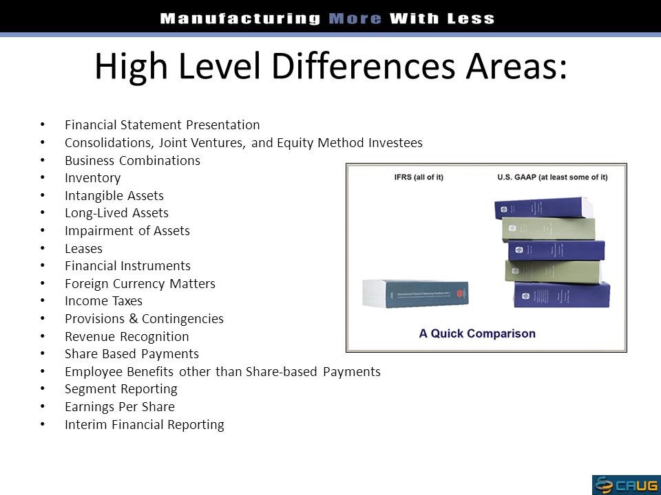 High Level Differences Areas: