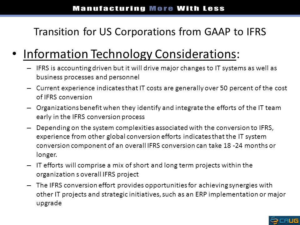 Transition for US Corporations from GAAP to IFRS