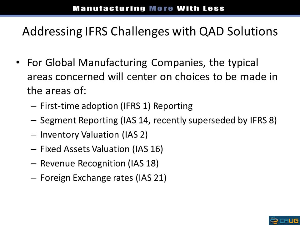 Addressing IFRS Challenges with QAD Solutions